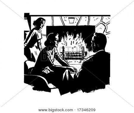 Relaxing Around The Fire - Retro Clip Art