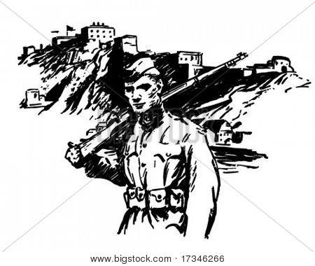 Soldier - World War II - Retro Clip Art