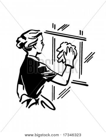 Woman Cleaning Window - Retro Clip Art