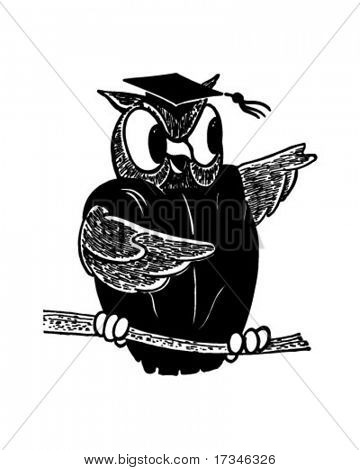 Wise Old Owl - Retro Clip Art