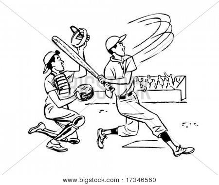 It's A Home Run - Retro Clipart Illustration