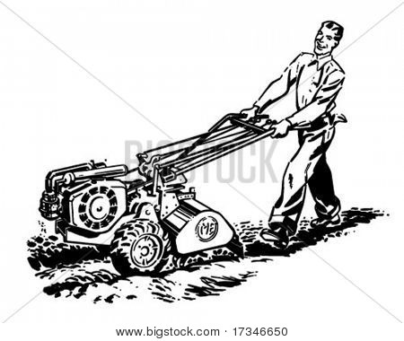 Man With Roto Tiller - Retro Clipart Illustration