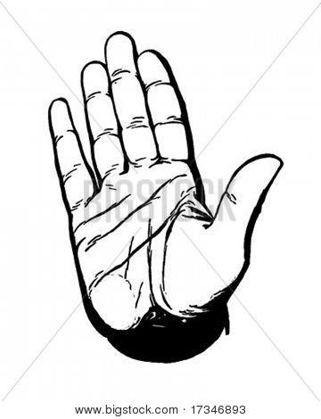 Stop Hand - Retro Clipart Illustration