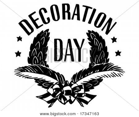 Decoration Day Wreath - Retro Clipart Illustration