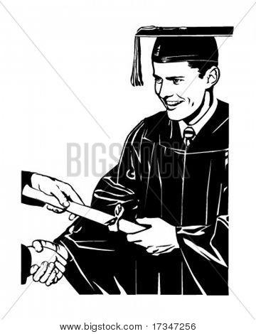 Grad Receiving Diploma - Retro Clipart Illustration