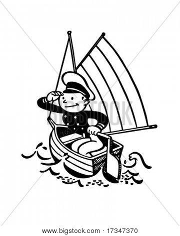 Little Captain - Retro Clipart Illustration