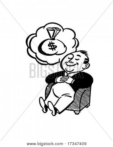 Man Dreaming Of Money - Retro Clipart Illustration