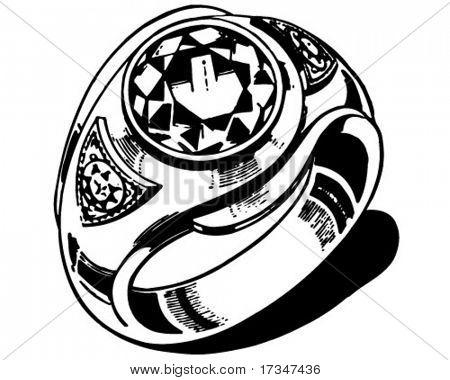 Mens Ring - Retro Clipart Illustration