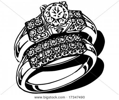 Opulent Wedding Ring Set - Retro Clipart Illustration