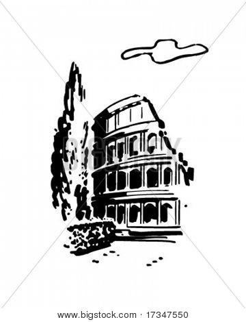 Roman Coliseum - Retro Clipart Illustration