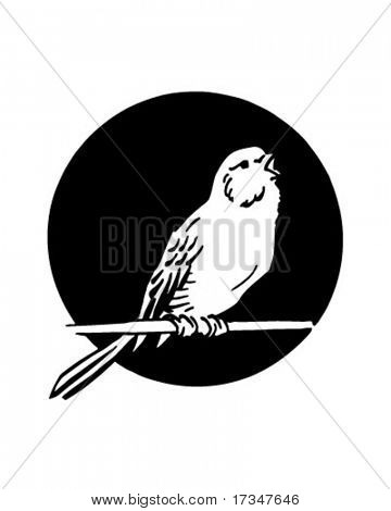 Single Bird - Retro Clipart Illustration