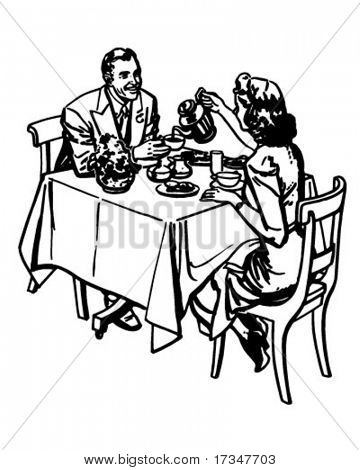 Tea Time - Retro Clipart Illustration