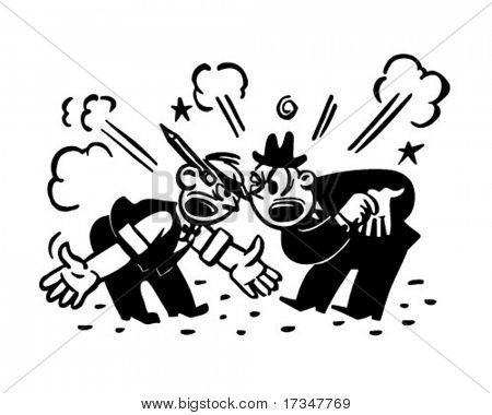 Two Men Arguing - Retro Clipart Illustration