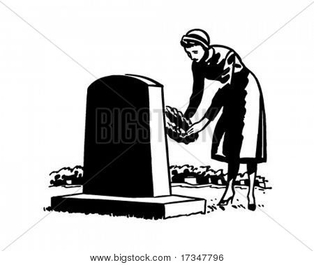 Woman Placing Flowers On Grave Site - Retro Clipart Illustration