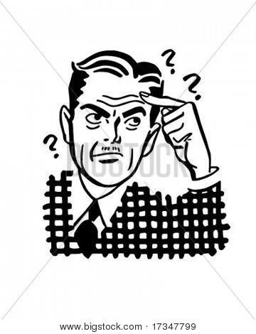 Thinking Man - Retro Clipart Illustration