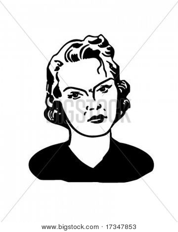 Angry Woman - Retro Clipart Illustration