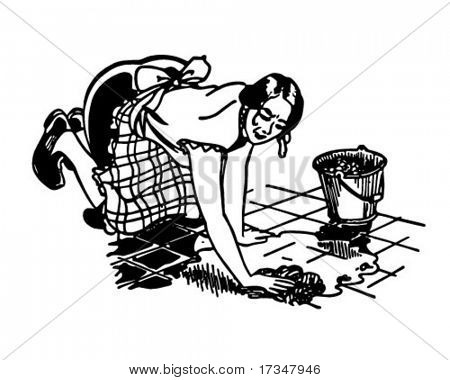 Woman Washing Floor - Retro Clipart Illustration