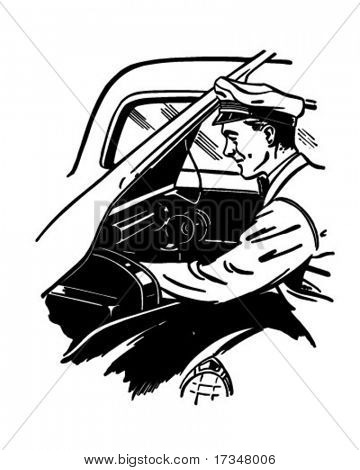 Checking Under The Hood - Retro Clipart Illustration