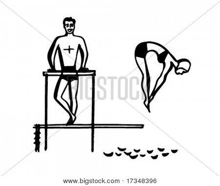 Sprungbrett Lady Diver - Retro Clipart Illustration