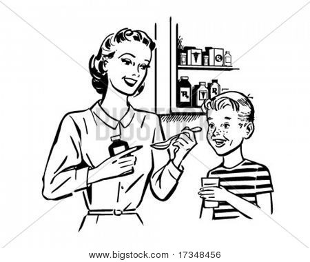 Mom Giving Medicine To Son - Retro Clipart Illustration