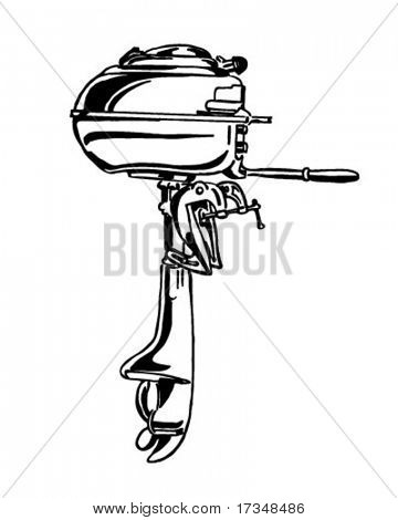 Outboard Motor - Retro Clipart Illustration