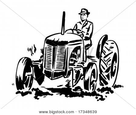 Tractor 2 - Retro Clipart Illustration