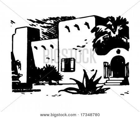 Adobe Hacienda - Retro Clipart Illustration