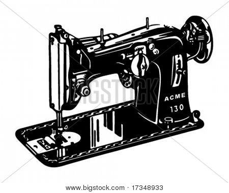 Sewing Machine - Retro Ad Art Banner