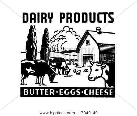 Dairy Products - Retro Ad Art Banner