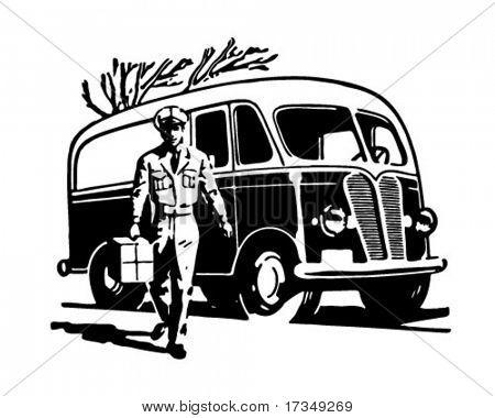 Delivery Van - Retro Ad Art Illustration