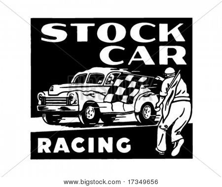 Stock Car Racing - Retro Ad Art Banner