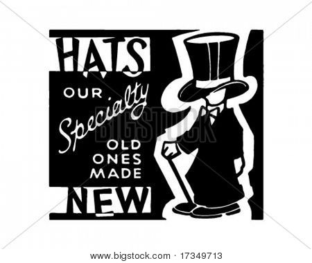 Hats Our Specialty - Retro Ad Art Banner