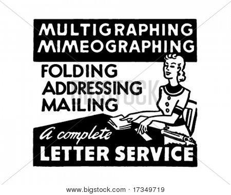 Letter Service - Retro Ad Art Banner