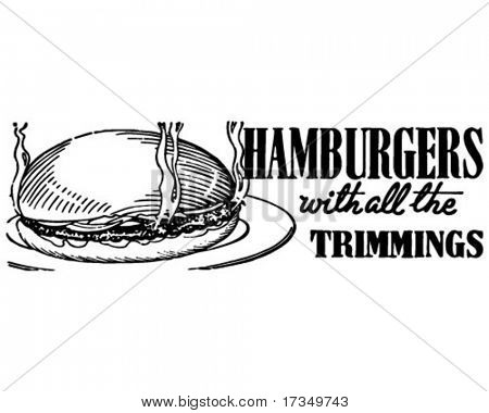 Hamburgers - Retro Ad Art Banner