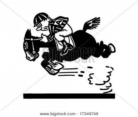 Jockey On Racehorse 2 - Retro Ad Art Illustration