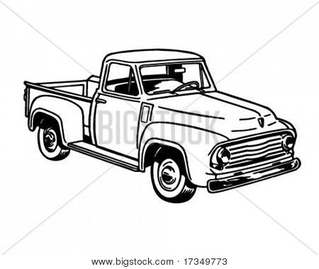 Pickup Truck 2 - Retro Ad Art Illustration