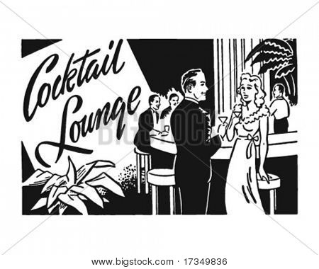 Cocktail Lounge 2 - Retro Ad Art Banner