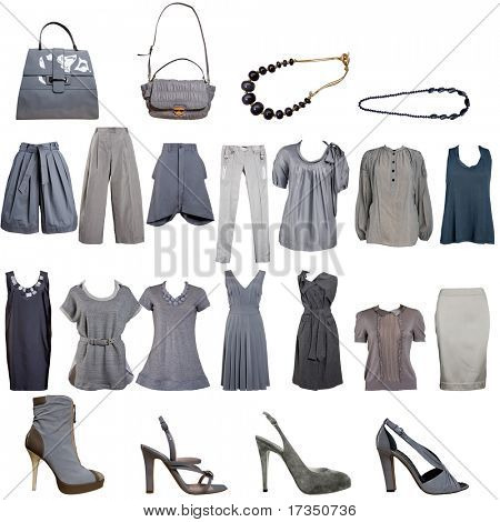 collection of grey clothes and accessories