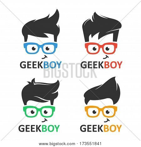 poster of Geek or nerd logo vector set. Cartoon face smart boy with glasses. Icons for education, gaming, technological or scientific applications and sites.