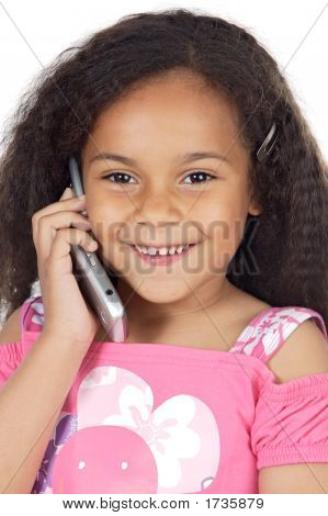 Girl Speaking On The Telephone