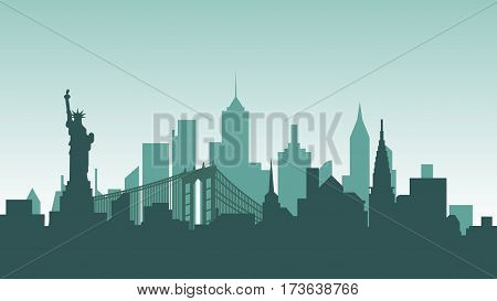 Stock vector illustration background silhouette architecture buildings and monuments town city country travel USA, welcome New York, Statue of Liberty, United States of America, bridge, skyscrapers