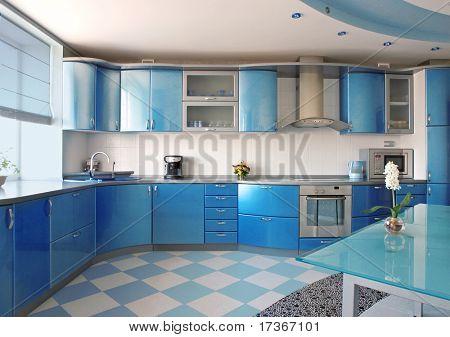 Постер, плакат: синий кухня, холст на подрамнике