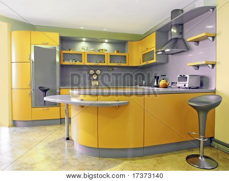 yellow kitchen interior