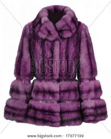 violet fur coat