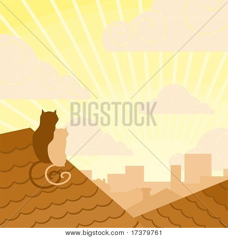 Couple of cats on a roof looking at a sunrise