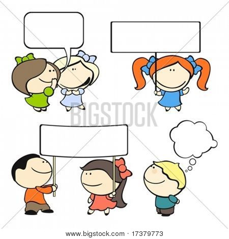 set of images of funny kids on a white background #8, banners and speech bubbles theme
