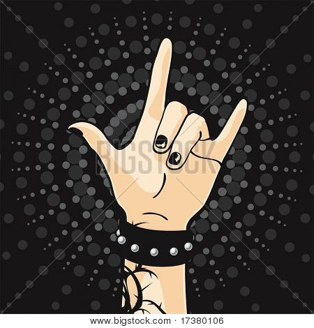 Hand with tattoo and black manicure on a dark background