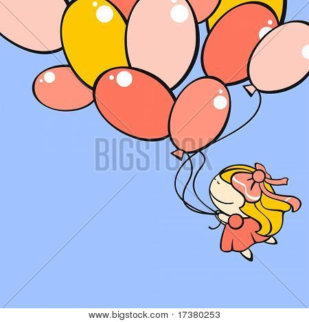 Cute little girl flying with the balloons (raster version)