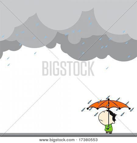 Little boy under the rain