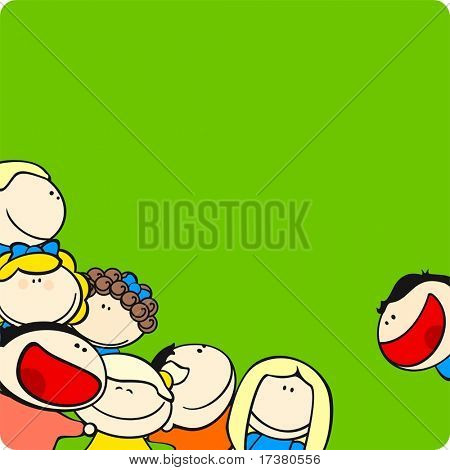 Background with cute cartoon kids